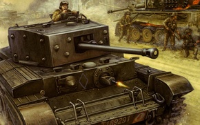 Picture war, figure, tank, Flames of War, Cromwell, MkVIII