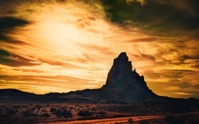 Picture USA, sky, desert, nature, sunset, Arizona, clouds, hill, Utah, Colorado, Monument Valley, New Mexico, America, …
