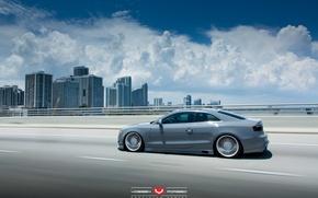 Picture road, machine, auto, clouds, Audi, Audi, wheels, drives, auto, Vossen Wheels