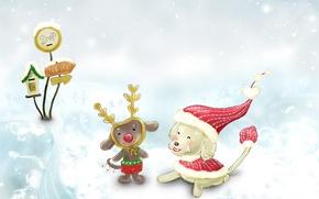 Wallpaper childhood, new year, winter, snow, tale