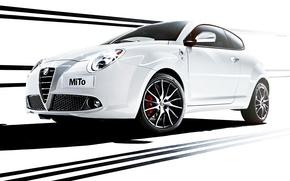 Wallpaper Alfa Romeo, MiTo, the front, Verde, Four-leaf clover, Alfa Romeo, Mi Tu