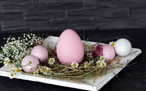 Picture flowers, wall, holiday, eggs, Easter, hay, stand, Easter