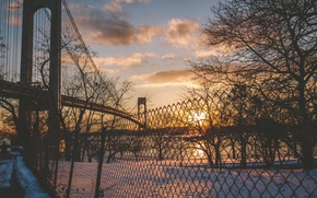 Picture winter, the sun, clouds, snow, sunset, river, the fence, New York, United States, East River, …
