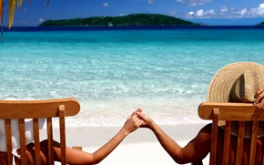 Picture sea, beach, summer, stay, island, beauty, hands, it, hats
