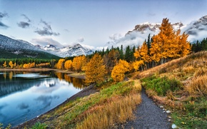 Picture Park, snow, mountains, river, road, leaves, fall, leaves, path, colors, trees, water, walk, sky, river, ...