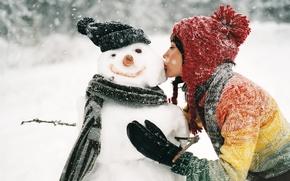 Wallpaper snowman, girl, kiss, snow, winter