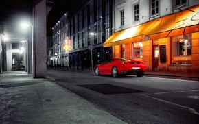 Picture the city, street, the evening, Ferrari, red, ferrari f430