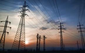 Wallpaper the sky, power lines, night