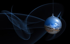 Wallpaper line, landscape, blue, toy, winter, graphics, stylish, new year, ball, Christmas, ball, black background, hanging, ...