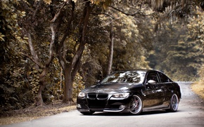 Picture road, forest, black, bmw, BMW, black, 335i, e92