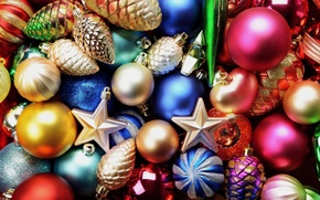 Wallpaper star, balls, New year, Christmas, New Year, decoration, bumps, colorful, decorations