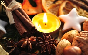 Wallpaper holiday, new year, food, candle, cookies, sweets, the scenery, nuts, cinnamon, happy new year, christmas ...