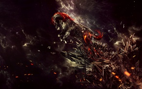 Picture nebula, clouds, rock, stones, fantasy, fiction, fire, horse