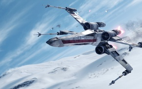 Picture game, Electronic Arts, DICE, X-Wing, Hot, star wars battlefront, Hoth, Walker Assault