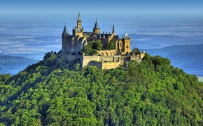 Wallpaper mountain, nature, Germany, Hohenzollern, Castle, Castle, fortress, height, forest, Hohenzollern, Burg, landscape