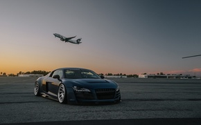 Picture audi, blue, airport, boden, R8