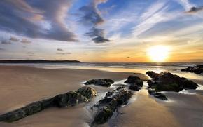 Wallpaper sea, the sun, rocks, Shore