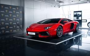 Picture red, lamborghini, aventador