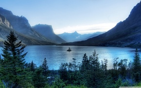 Picture forest, trees, nature, mountains, lake, island, morning, Glacier National Park
