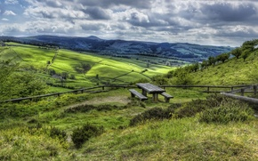 Picture grass, clouds, nature, table, hills, UK, benches