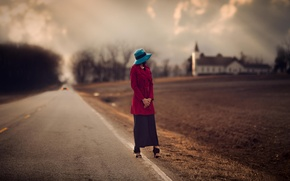 Picture road, girl, blur, Church, hat, roadside, arable land