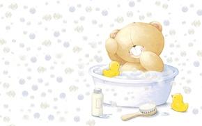 Picture smile, bubbles, mood, toy, bathing, art, bear, bath, duck, fun, children's, Forever Friends Deckchair bear