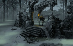 Picture forest, fog, being, horns, torch, ruins, evil, Primal