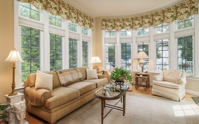 Picture design, lamp, sofa, Windows, chair, table, living room