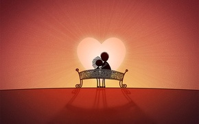Picture love, bench, heart, Love
