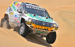 Picture Sand, Sport, Renault, Jeep, Rally, Dakar, Dakar, SUV, Rally, The front
