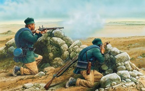 Wallpaper art, soldiers, 19th century., spotter, 1853., Enfield-Rifle, The Crimean war, 1853—1856., snipers, telescope, enemy, rifle, ...