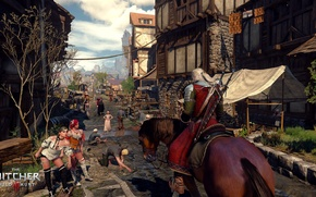 Picture the city, horse, the Witcher, horse, Geralt of Rivia, The Witcher 3: Wild Hunt, Geralt, …
