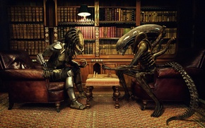 Wallpaper office, against, party, books, predator, stranger, chess, alien vs predator
