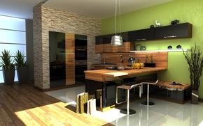 Wallpaper style, flooring, Kitchen, crushed stone, Zebrano