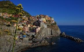 Picture sea, rocks, home, Bay, Italy, Manarola, Cinque Terre, The Ligurian coast