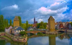 Wallpaper river, France, tower, bridges, Strasbourg, France, Strasbourg, Covered Bridges, River Ill, river Il