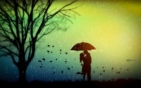 Wallpaper autumn, leaves, love, rain, tree, mood, romance, umbrella, lovers