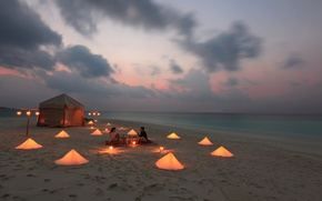 Picture beach, the ocean, romance, the evening, candles, tent, pair, two
