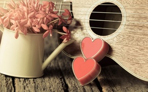 Picture flowers, heart, love, vintage, heart, romantic, ukulele