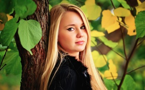 Picture forest, eyes, leaves, hair, forest, looks, eyes, leaves, hair, looking, branches, branches