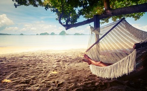 Wallpaper sand, hammock, resting, relaxing