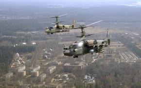 Wallpaper helicopter, ka-52, flight, the city, BBC