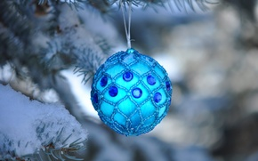 Picture snow, holiday, spruce, ball, decoration