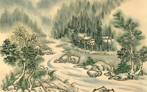 Picture forest, trees, river, shore, Japan, village, temple, Painting
