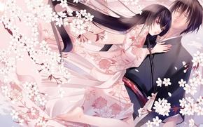 Picture love, flowers, mood, tenderness, Japan, spring, anime, Sakura, kimono, two, fuuchouin Kazuki