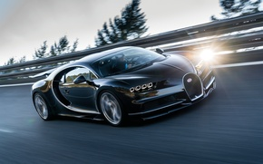 Wallpaper Chiron, speed, 2016, movement, driver, Bugatti, track