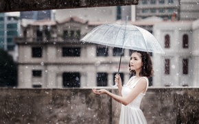 Picture girl, rain, umbrella