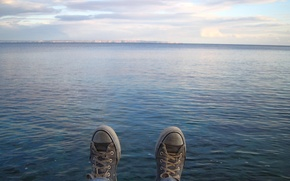 Wallpaper lake, the sky, water, sneakers