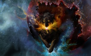 Picture jump, wolf, sparks, - , art, novawuff