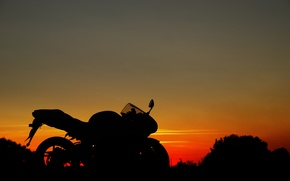 Picture the sky, sunset, Moto, profile, suzuki
